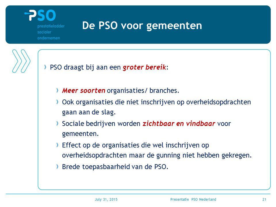 July 31, 2015Presentatie PSO Nederland21 De PSO voor gemeenten PSO draagt bij aan een groter bereik: Meer soorten organisaties/ branches. Ook organisa
