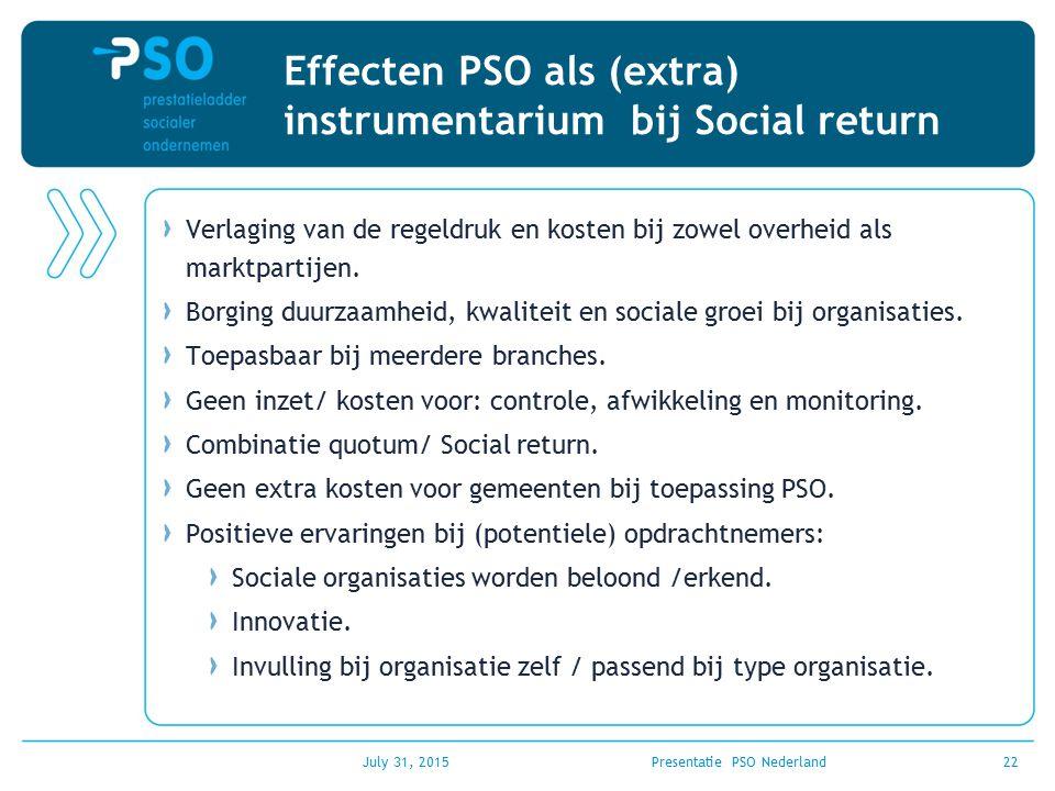 July 31, 2015Presentatie PSO Nederland22 Effecten PSO als (extra) instrumentarium bij Social return Verlaging van de regeldruk en kosten bij zowel ove