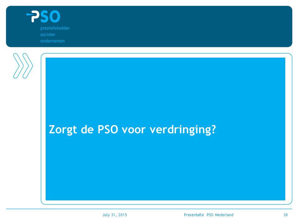 Zorgt de PSO voor verdringing? July 31, 2015Presentatie PSO Nederland30