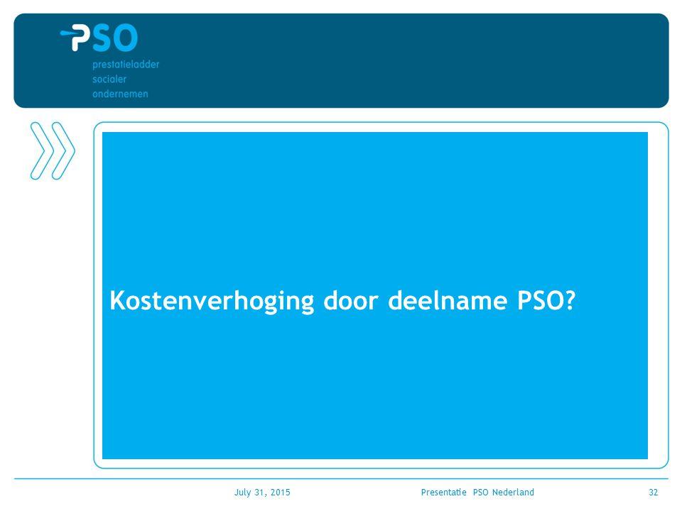 Kostenverhoging door deelname PSO? July 31, 2015Presentatie PSO Nederland32