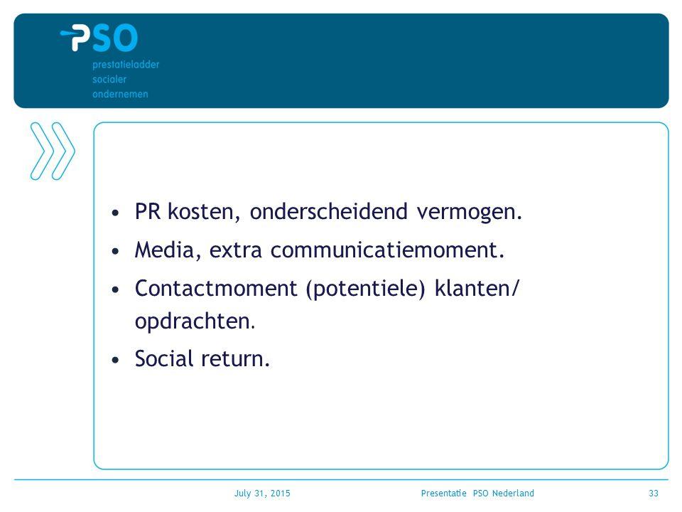 PR kosten, onderscheidend vermogen. Media, extra communicatiemoment. Contactmoment (potentiele) klanten/ opdrachten. Social return. July 31, 2015Prese