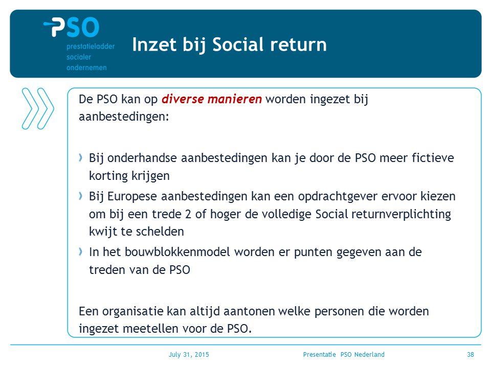 July 31, 2015Presentatie PSO Nederland38 Inzet bij Social return De PSO kan op diverse manieren worden ingezet bij aanbestedingen: Bij onderhandse aan