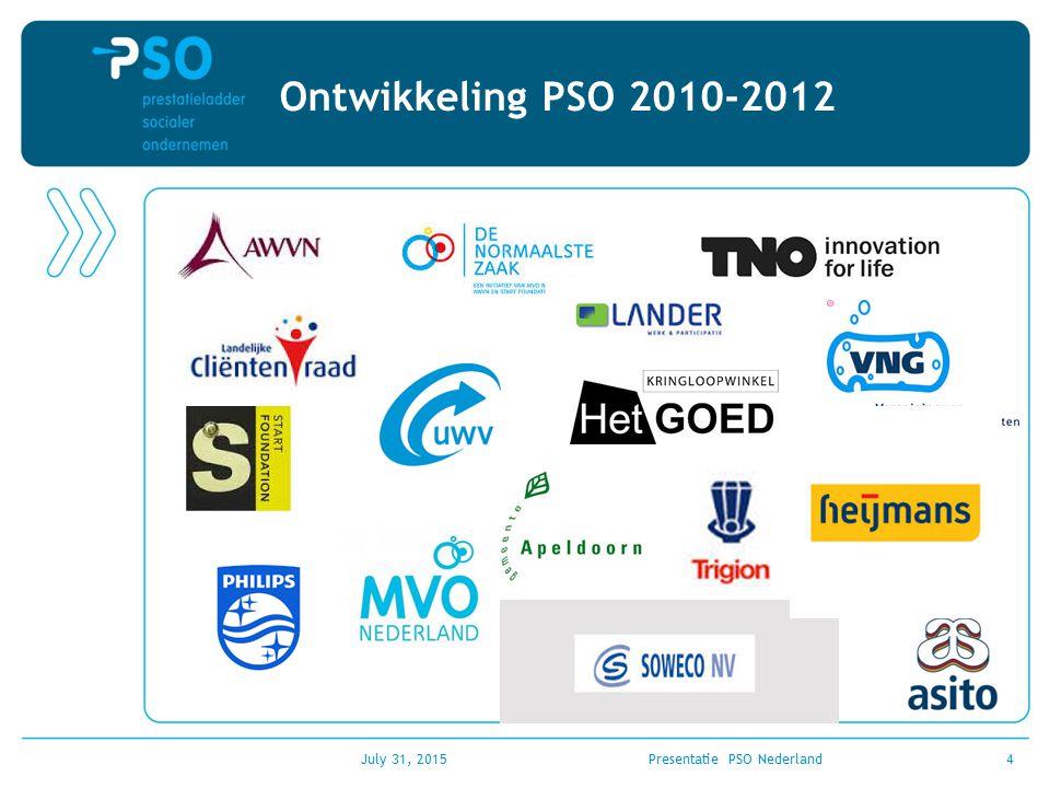 Ontwikkeling PSO 2010-2012 July 31, 2015Presentatie PSO Nederland4