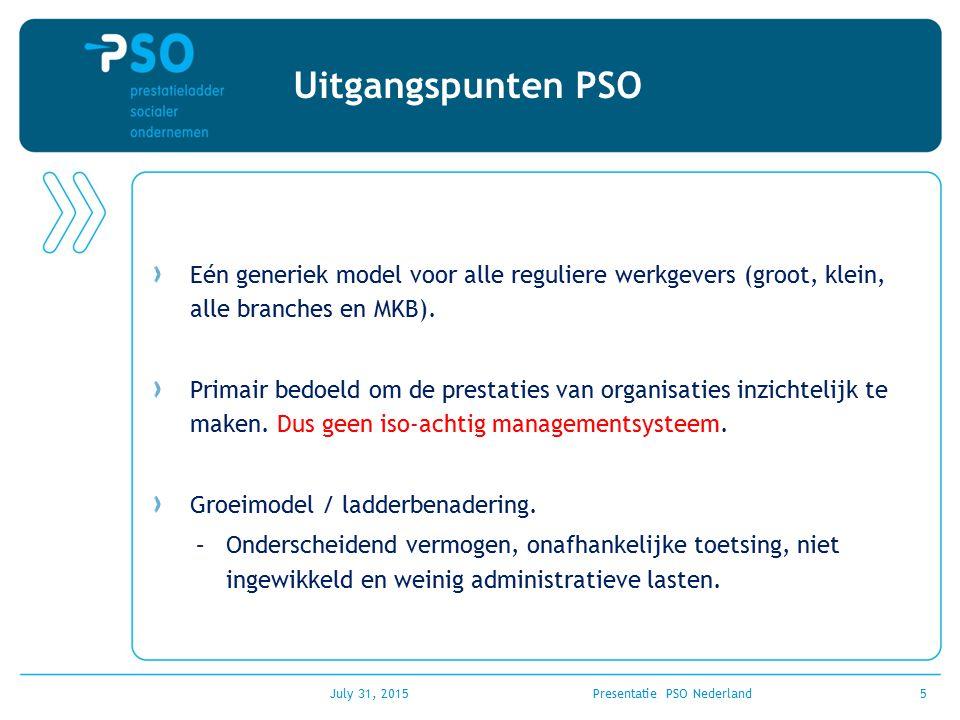 July 31, 2015Presentatie PSO Nederland5 Uitgangspunten PSO Eén generiek model voor alle reguliere werkgevers (groot, klein, alle branches en MKB). Pri