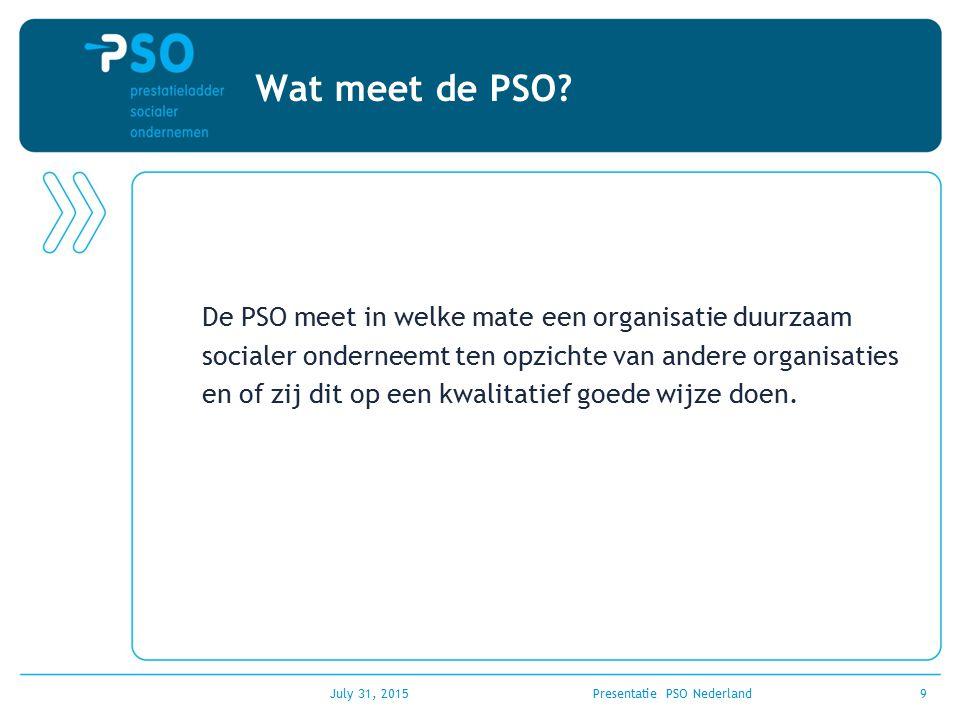 July 31, 2015Presentatie PSO Nederland9 Wat meet de PSO? De PSO meet in welke mate een organisatie duurzaam socialer onderneemt ten opzichte van ander