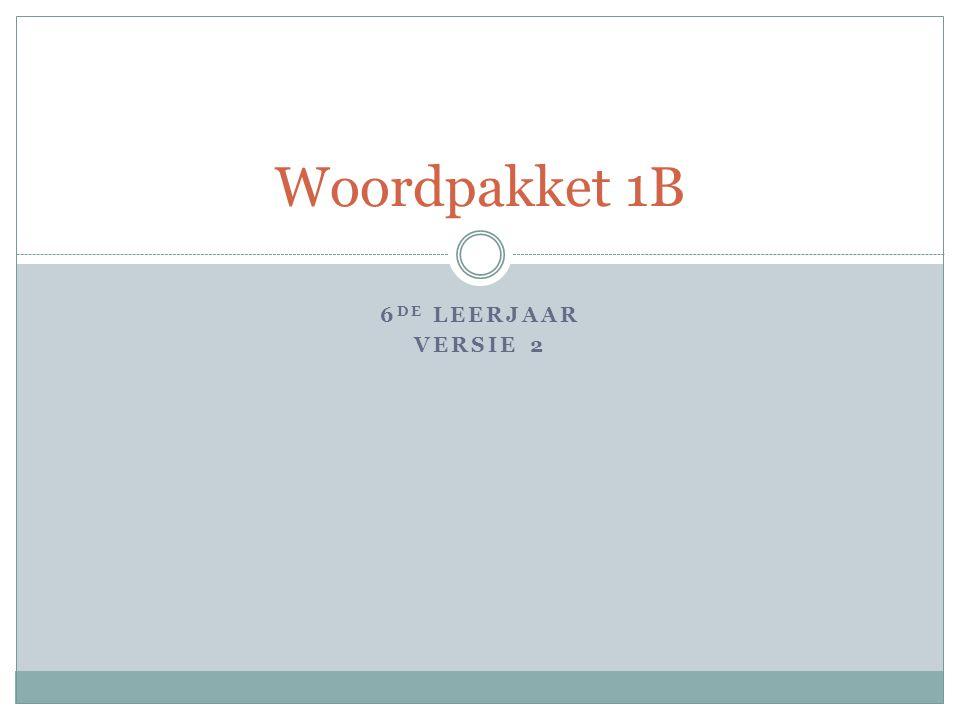 6 DE LEERJAAR VERSIE 2 Woordpakket 1B