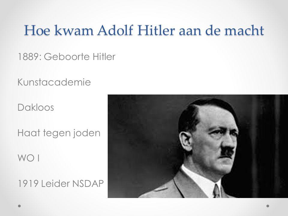 Hoe kwam Adolf Hitler aan de macht 1889: Geboorte Hitler Kunstacademie Dakloos Haat tegen joden WO I 1919 Leider NSDAP