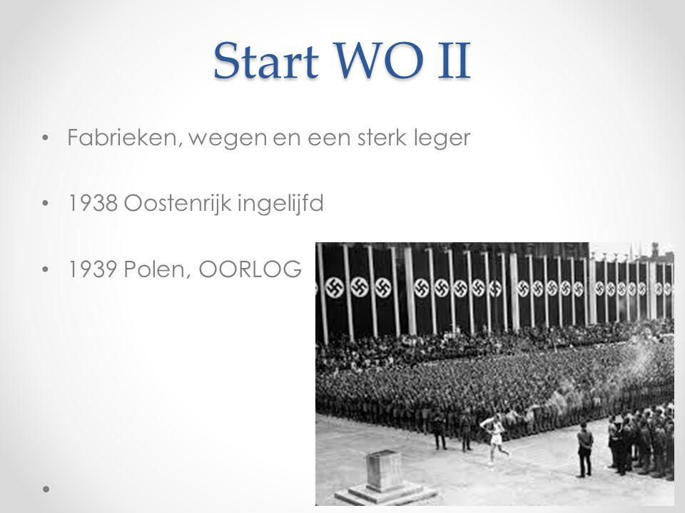 Start WO II Fabrieken, wegen en een sterk leger 1938 Oostenrijk ingelijfd 1939 Polen, OORLOG