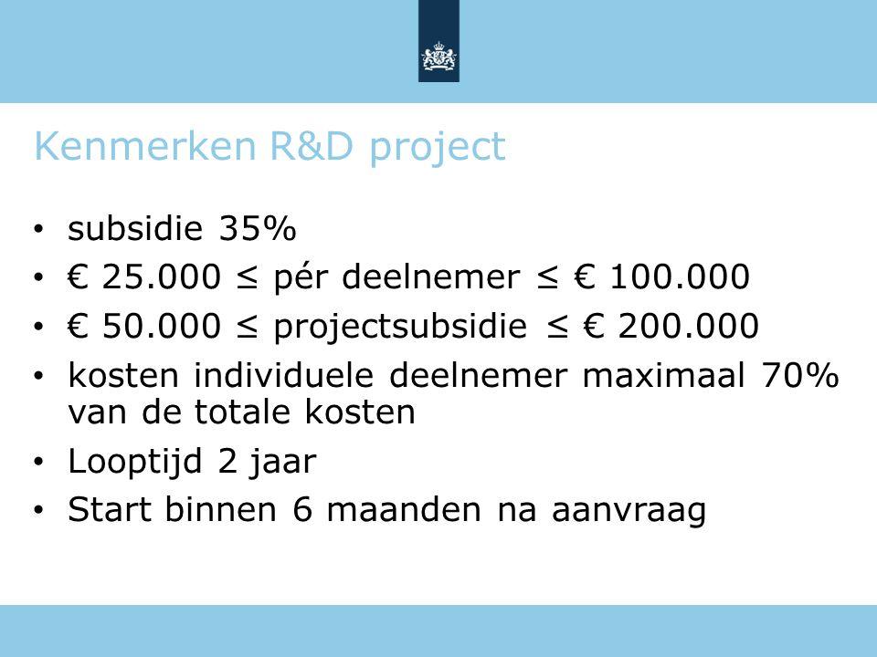 Kenmerken R&D project subsidie 35% € 25.000 ≤ pér deelnemer ≤ € 100.000 € 50.000 ≤ projectsubsidie ≤ € 200.000 kosten individuele deelnemer maximaal 7