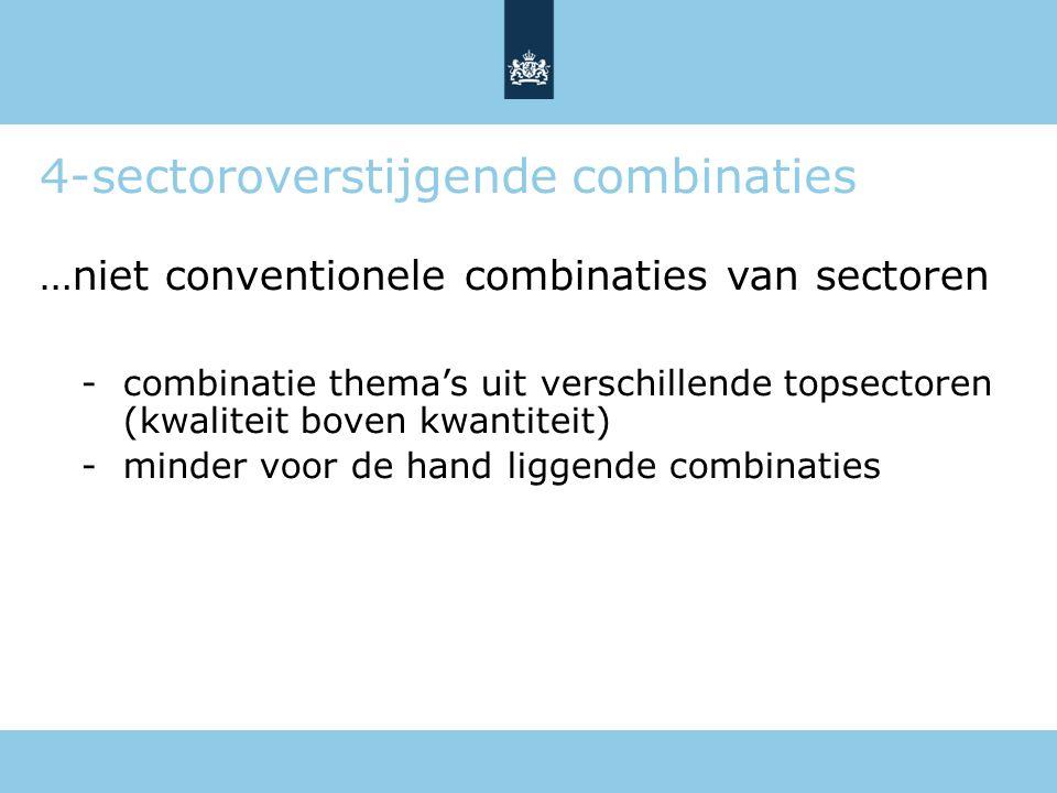 4-sectoroverstijgende combinaties …niet conventionele combinaties van sectoren -combinatie thema's uit verschillende topsectoren (kwaliteit boven kwan