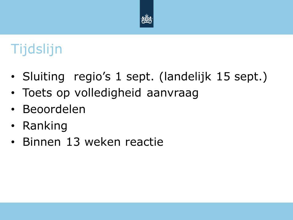 Tijdslijn Sluiting regio's 1 sept. (landelijk 15 sept.) Toets op volledigheid aanvraag Beoordelen Ranking Binnen 13 weken reactie