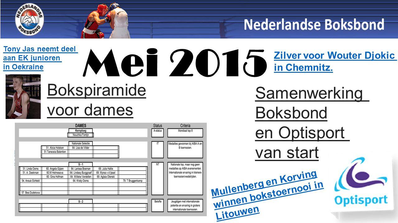 Mei 2015 Bokspiramide voor dames Samenwerking Boksbond en Optisport van start Mullenberg en Korving winnen bokstoernooi in Litouwen Zilver voor Wouter Djokic in Chemnitz.