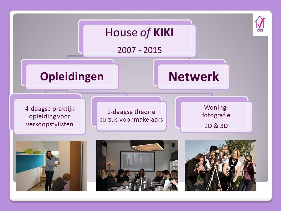House of KIKI 2007 - 2015 Opleidingen 4-daagse praktijk opleiding voor verkoopstylisten 1-daagse theorie cursus voor makelaars Woning- fotografie 2D & 3D Netwerk