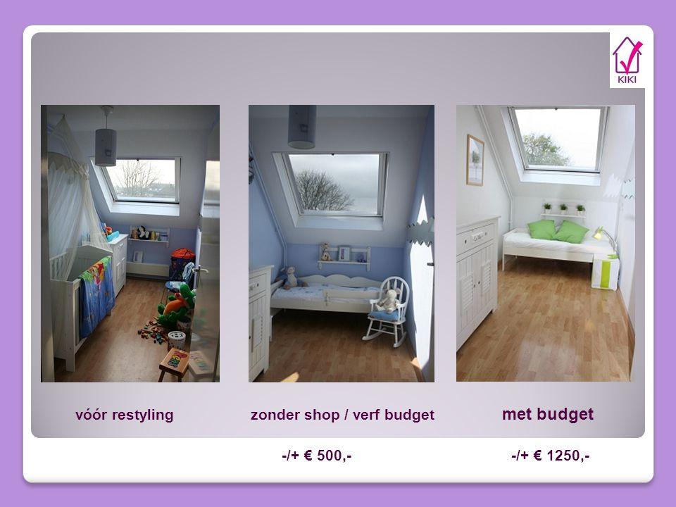 vóór restyling zonder shop / verf budget met budget -/+ € 500,- -/+ € 1250,-