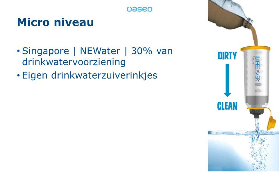 Micro niveau Singapore | NEWater | 30% van drinkwatervoorziening 10