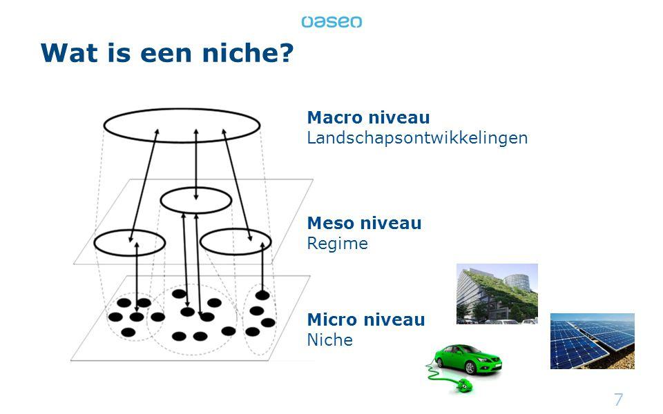 Wat is een niche? 7 Macro niveau Landschapsontwikkelingen Meso niveau Regime Micro niveau Niche