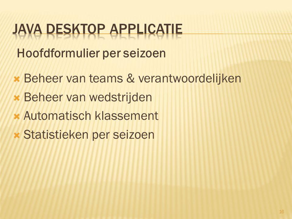  Beheer van teams & verantwoordelijken  Beheer van wedstrijden  Automatisch klassement  Statistieken per seizoen 16 Hoofdformulier per seizoen