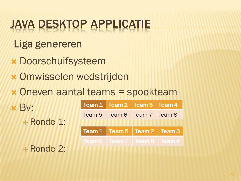  Doorschuifsysteem  Omwisselen wedstrijden  Oneven aantal teams = spookteam  Bv:  Ronde 1:  Ronde 2: Team 1Team 2Team 3Team 4 Team 5Team 6Team 7