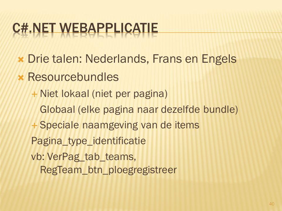  Drie talen: Nederlands, Frans en Engels  Resourcebundles  Niet lokaal (niet per pagina) Globaal (elke pagina naar dezelfde bundle)  Speciale naam