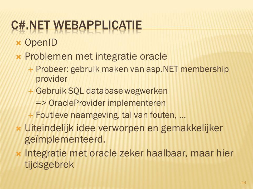  OpenID  Problemen met integratie oracle  Probeer: gebruik maken van asp.NET membership provider  Gebruik SQL database wegwerken => OracleProvider