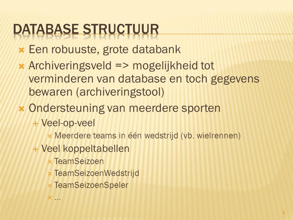  Een robuuste, grote databank  Archiveringsveld => mogelijkheid tot verminderen van database en toch gegevens bewaren (archiveringstool)  Ondersteu