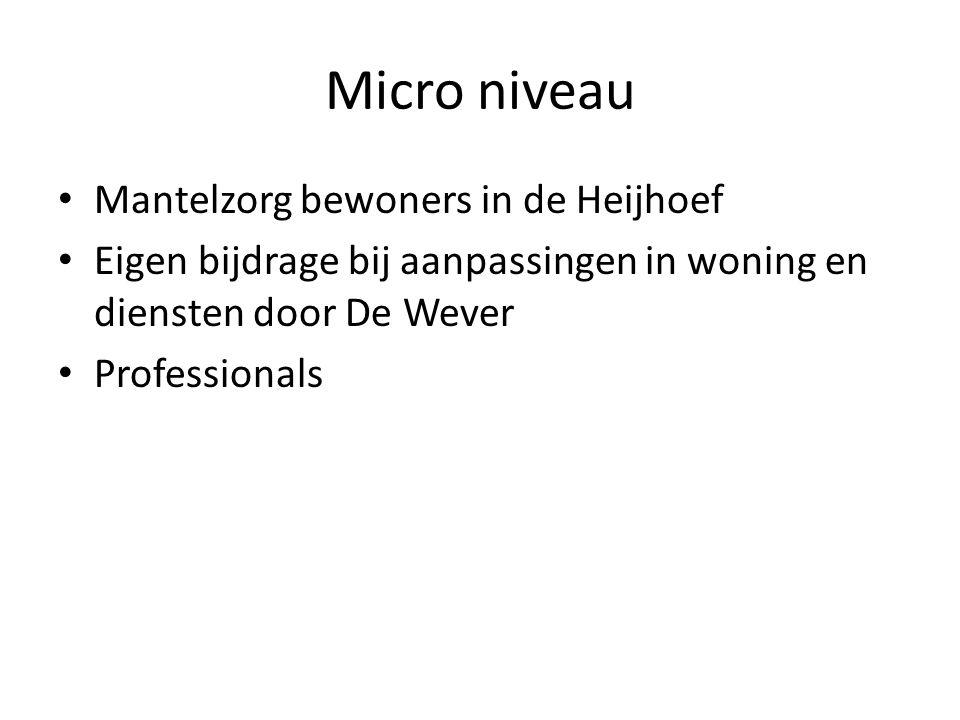 Micro niveau Mantelzorg bewoners in de Heijhoef Eigen bijdrage bij aanpassingen in woning en diensten door De Wever Professionals