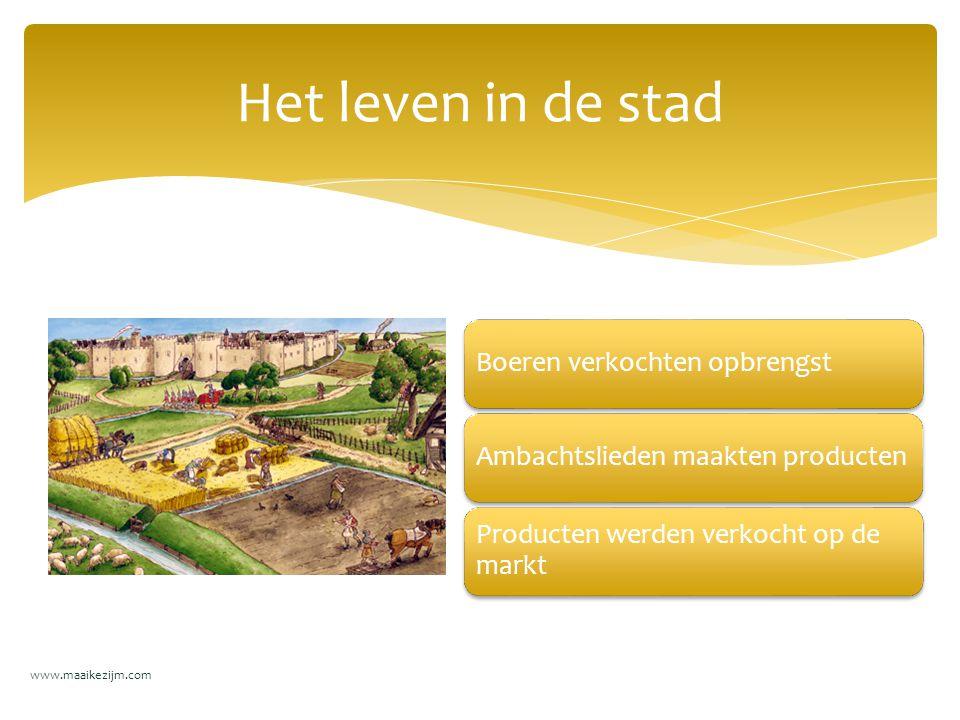 Boeren verkochten opbrengstAmbachtslieden maakten producten Producten werden verkocht op de markt Het leven in de stad www.maaikezijm.com