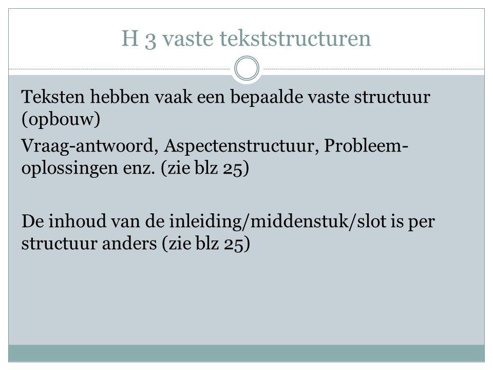 H 3 vaste tekststructuren Teksten hebben vaak een bepaalde vaste structuur (opbouw) Vraag-antwoord, Aspectenstructuur, Probleem- oplossingen enz. (zie