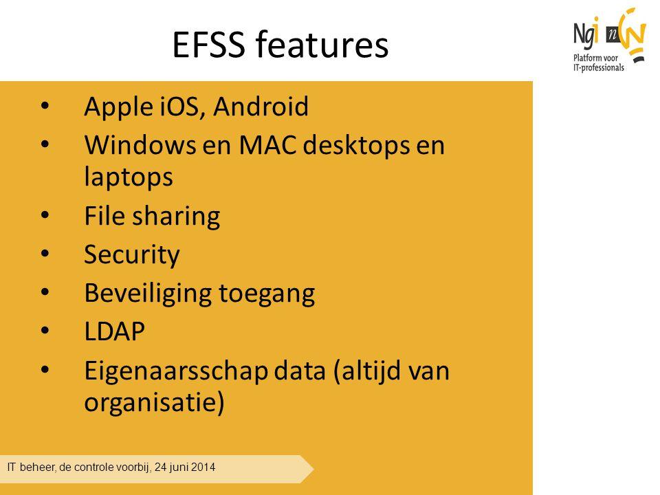 IT beheer, de controle voorbij, 24 juni 2014 EFSS features Apple iOS, Android Windows en MAC desktops en laptops File sharing Security Beveiliging toe