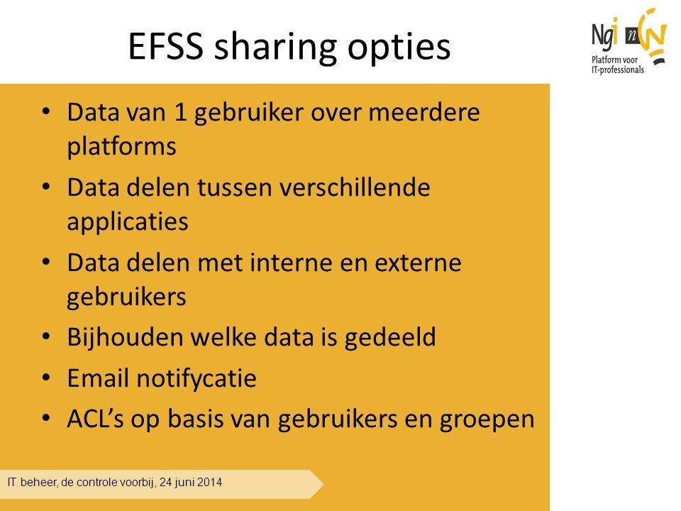 IT beheer, de controle voorbij, 24 juni 2014 EFSS sharing opties Data van 1 gebruiker over meerdere platforms Data delen tussen verschillende applicat