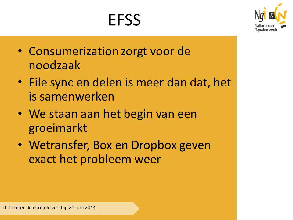 IT beheer, de controle voorbij, 24 juni 2014 EFSS Consumerization zorgt voor de noodzaak File sync en delen is meer dan dat, het is samenwerken We sta
