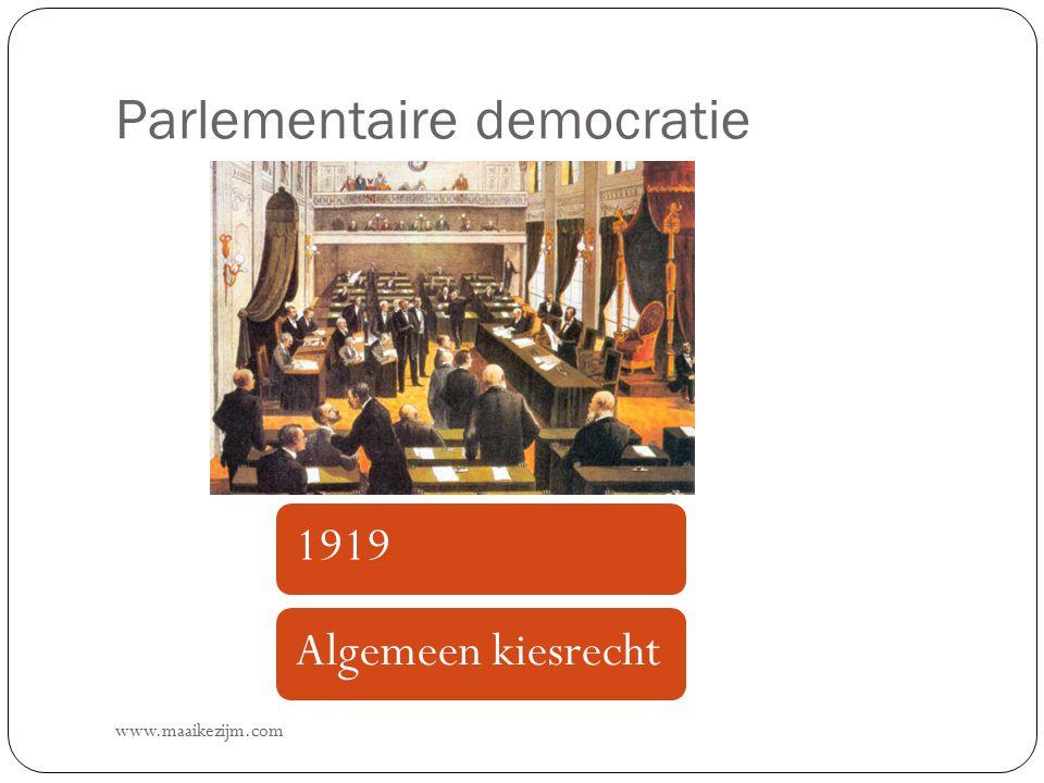 Parlementaire democratie www.maaikezijm.com 1919Algemeen kiesrecht
