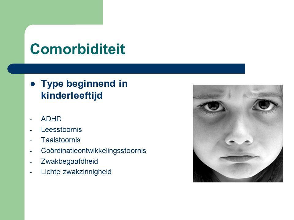 Comorbiditeit Type beginnend in kinderleeftijd - ADHD - Leesstoornis - Taalstoornis - Coördinatieontwikkelingsstoornis - Zwakbegaafdheid - Lichte zwakzinnigheid
