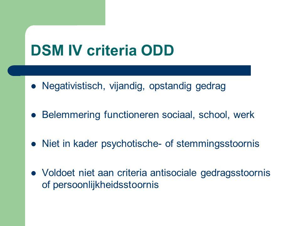 DSM IV criteria ODD Negativistisch, vijandig, opstandig gedrag Belemmering functioneren sociaal, school, werk Niet in kader psychotische- of stemmingsstoornis Voldoet niet aan criteria antisociale gedragsstoornis of persoonlijkheidsstoornis