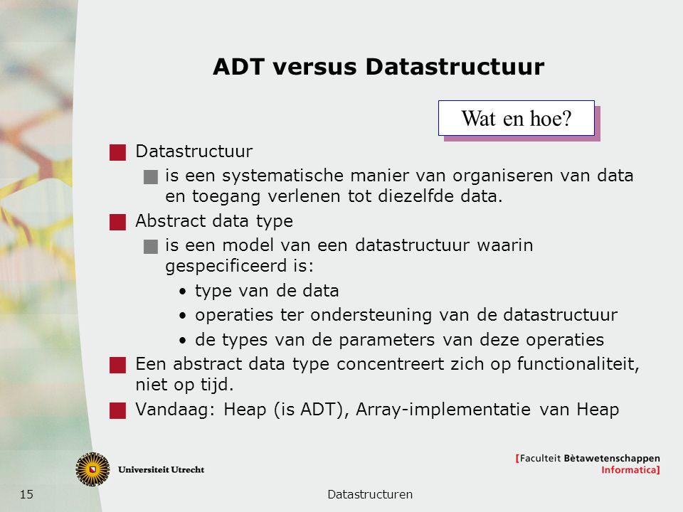 15 ADT versus Datastructuur  Datastructuur  is een systematische manier van organiseren van data en toegang verlenen tot diezelfde data.