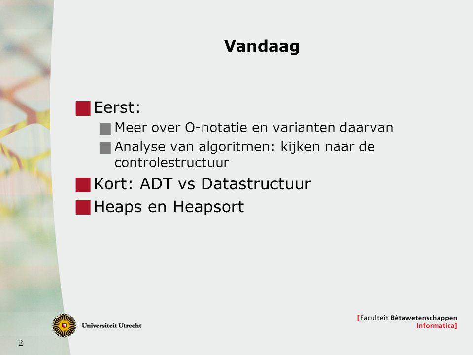 2 Vandaag  Eerst:  Meer over O-notatie en varianten daarvan  Analyse van algoritmen: kijken naar de controlestructuur  Kort: ADT vs Datastructuur  Heaps en Heapsort