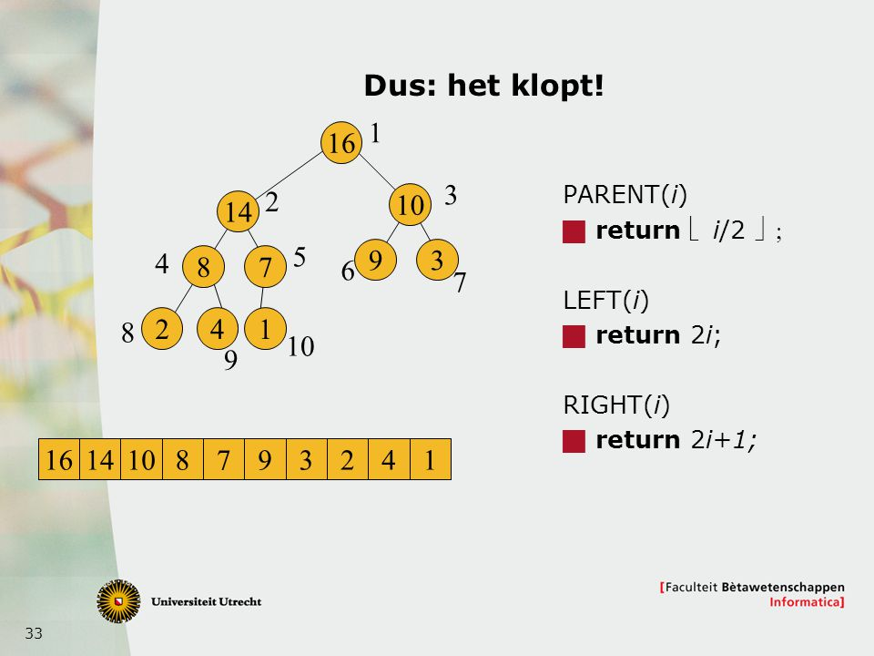 33 Dus: het klopt! PARENT(i)  return  i/2  LEFT(i)  return 2i; RIGHT(i)  return 2i+1; 16 14 8 241 7 10 93 1 2 3 4 5 6 7 8 9 1614108793241