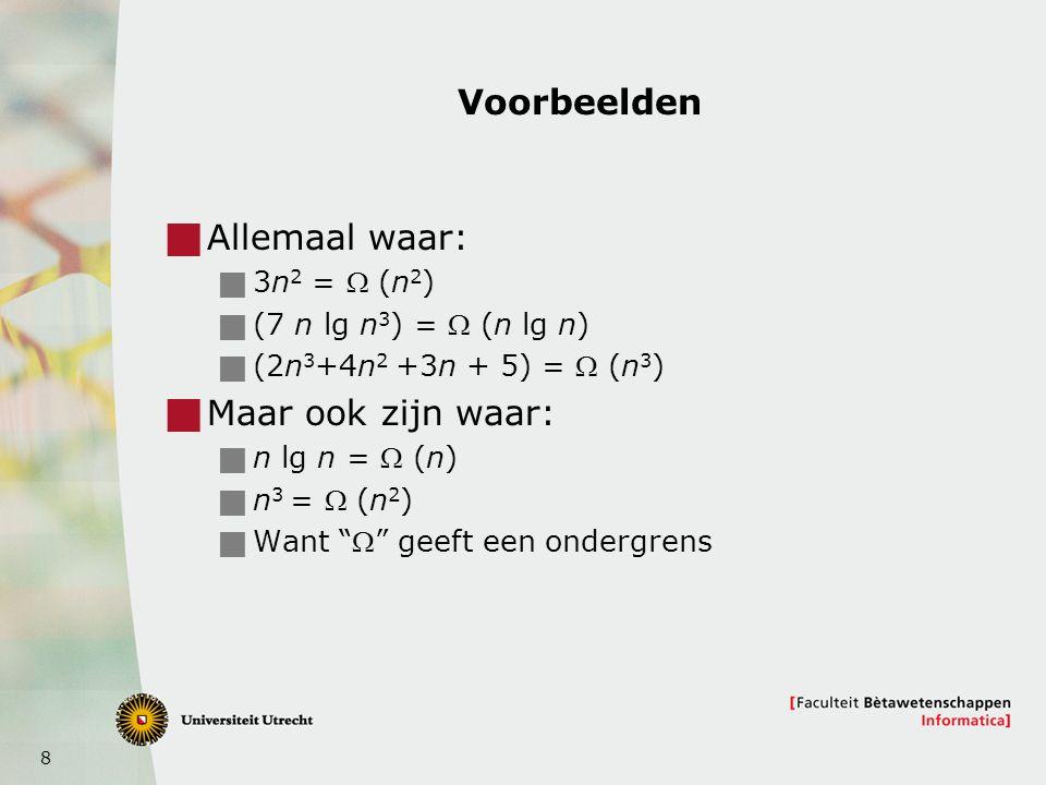 29 Implementatie van een heap  Gebruik een array  A[1] is de wortel  A[2], A[3] de achteenvolgende elementen op hoogte 1  A[4], A[5], A[6], A[7] voor hoogte 2,  A[2 r ], … A[2 r+1 -1] voor hoogte r  Vb komt hierna PARENT(i)  return  i/2  LEFT(i)  return 2i; RIGHT(i)  return 2i+1;