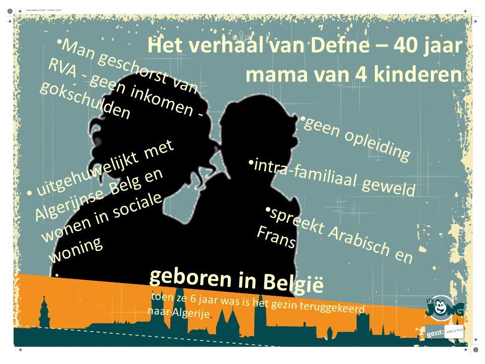 uitgehuwelijkt met Algerijnse Belg en wonen in sociale woning spreekt Arabisch en Frans geen opleiding Man geschorst van RVA - geen inkomen - gokschul