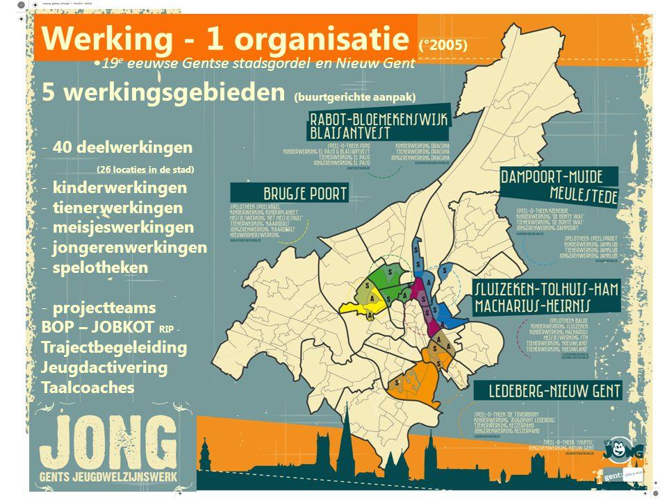 Werking - 1 organisatie (°2005) 5 werkingsgebieden (buurtgerichte aanpak) - 40 deelwerkingen (26 locaties in de stad) - kinderwerkingen - tienerwerkin