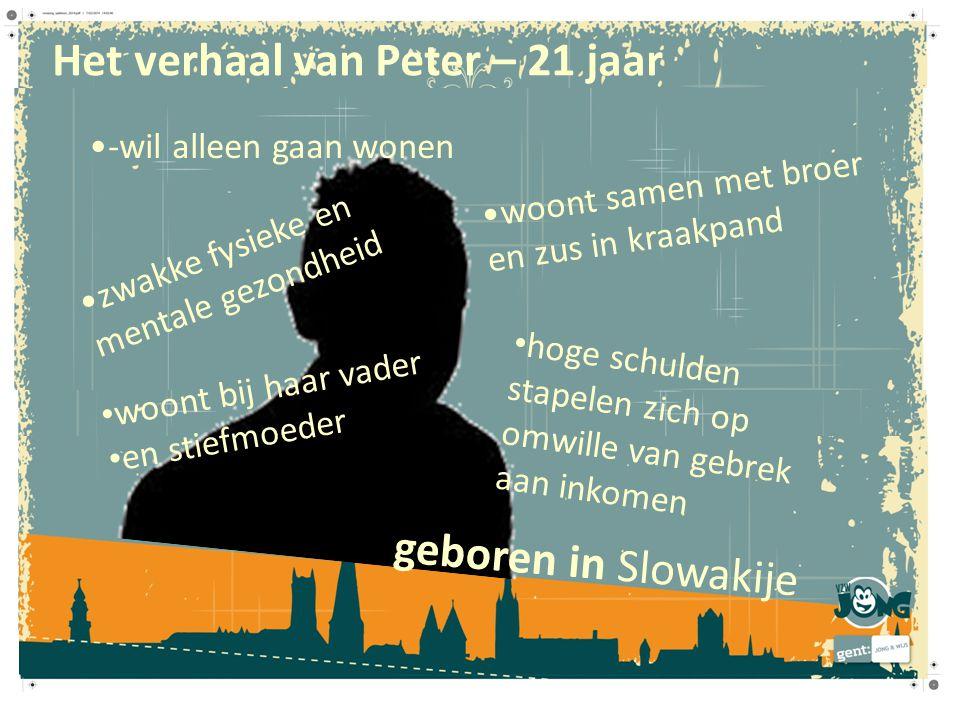 Het verhaal van Peter – 21 jaar geboren in Slowakije zwakke fysieke en mentale gezondheid hoge schulden stapelen zich op omwille van gebrek aan inkome