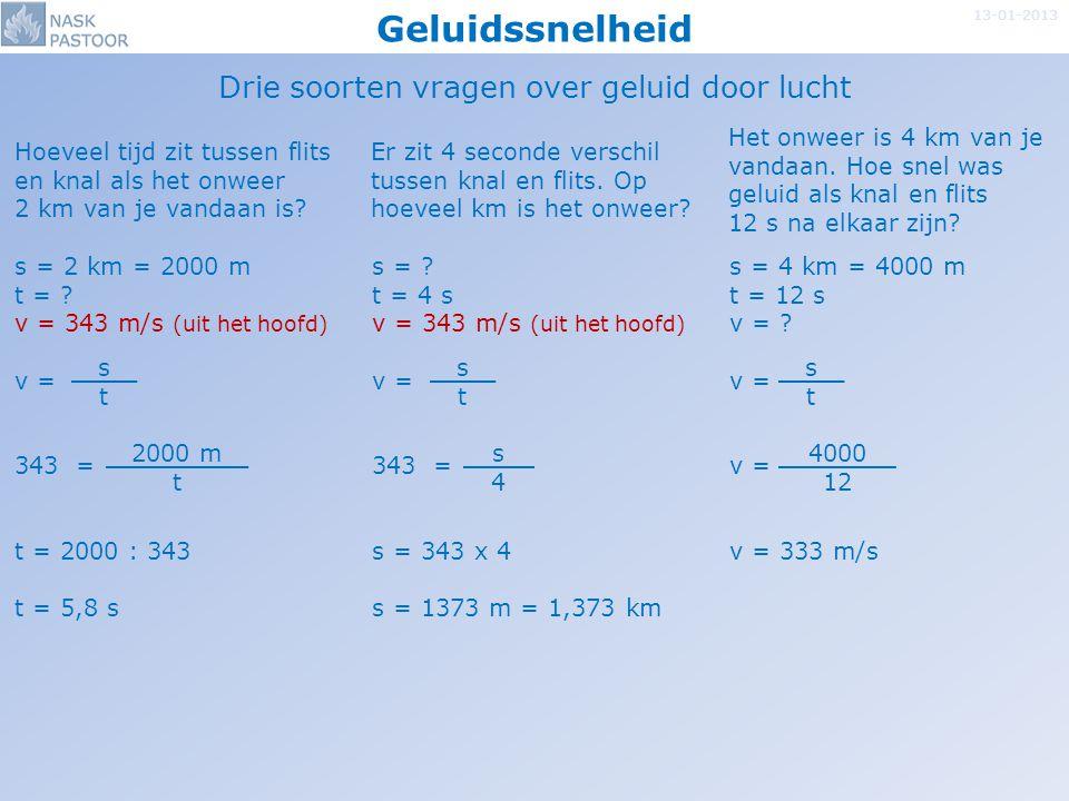 Geluidssnelheid 13-01-2013 Drie soorten vragen over geluid door andere stoffen Hoelang doet geluid erover om door 2 m rubber te gaan.