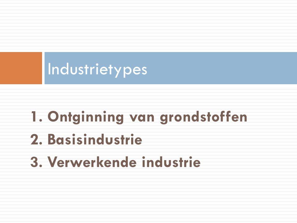 1. Ontginning van grondstoffen 2. Basisindustrie 3. Verwerkende industrie Industrietypes