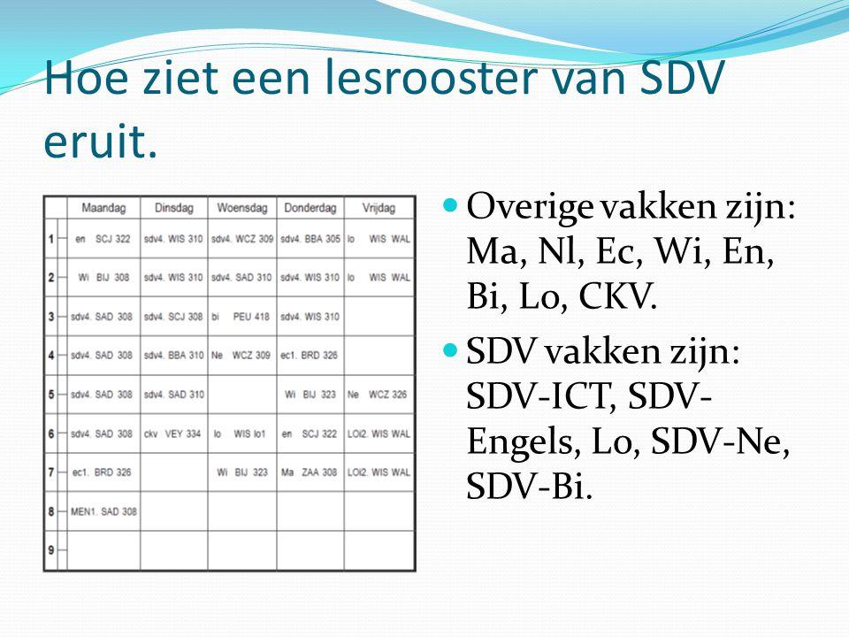 Hoe ziet een lesrooster van SDV eruit. Overige vakken zijn: Ma, Nl, Ec, Wi, En, Bi, Lo, CKV. SDV vakken zijn: SDV-ICT, SDV- Engels, Lo, SDV-Ne, SDV-Bi