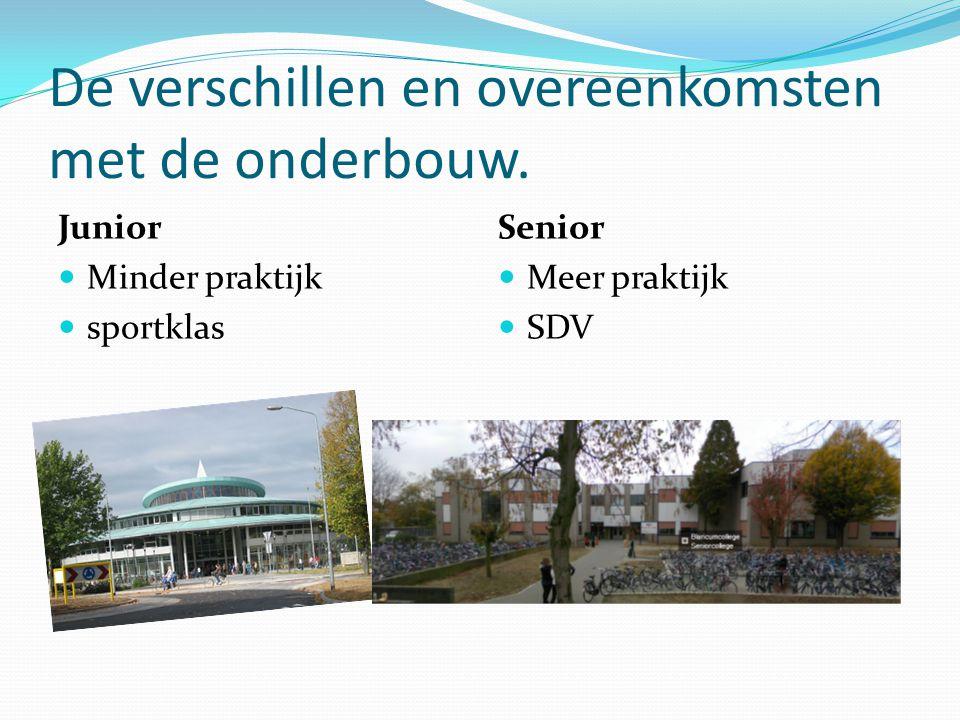 De verschillen en overeenkomsten met de onderbouw. Junior Minder praktijk sportklas Senior Meer praktijk SDV
