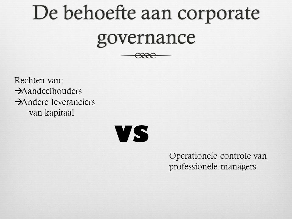 De behoefte aan corporate governance Rechten van:  Aandeelhouders  Andere leveranciers van kapitaal VS Operationele controle van professionele managers