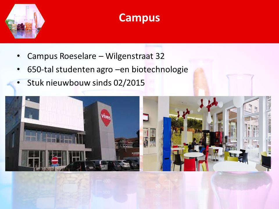 Campus Roeselare – Wilgenstraat 32 650-tal studenten agro –en biotechnologie Stuk nieuwbouw sinds 02/2015 Campus