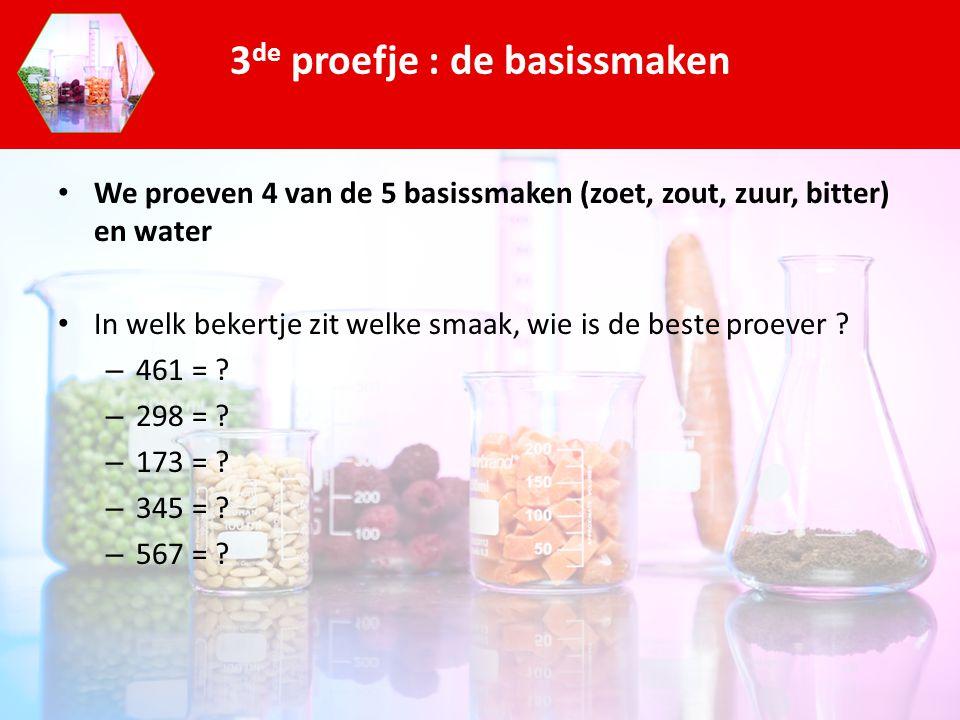 We proeven 4 van de 5 basissmaken (zoet, zout, zuur, bitter) en water In welk bekertje zit welke smaak, wie is de beste proever ? – 461 = ? – 298 = ?
