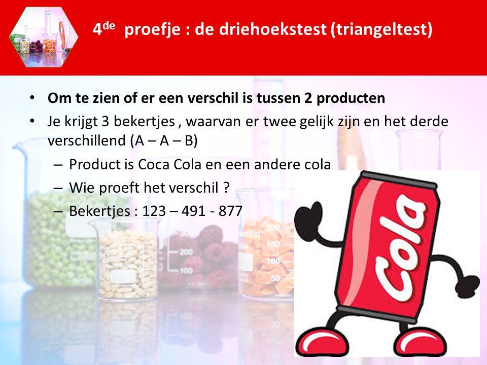 Om te zien of er een verschil is tussen 2 producten Je krijgt 3 bekertjes, waarvan er twee gelijk zijn en het derde verschillend (A – A – B) – Product