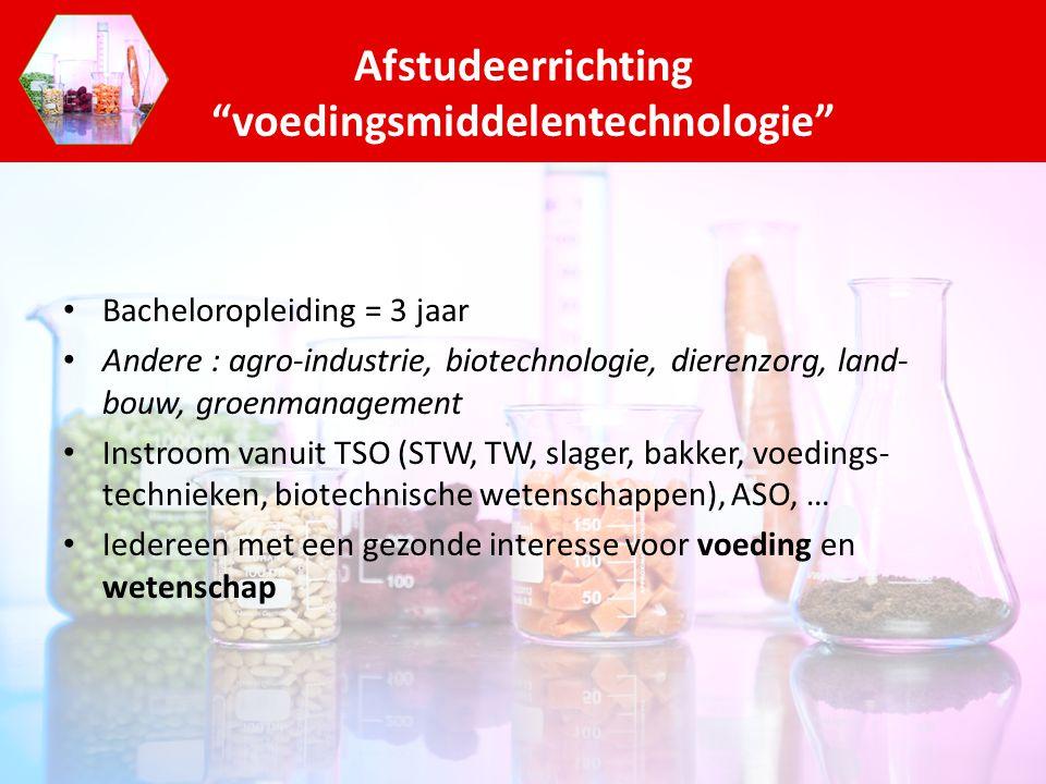 Bacheloropleiding = 3 jaar Andere : agro-industrie, biotechnologie, dierenzorg, land- bouw, groenmanagement Instroom vanuit TSO (STW, TW, slager, bakk